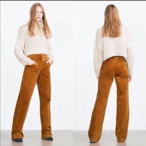 NWT Zara XS corduroy Pants Brown Boot Belt Waist
